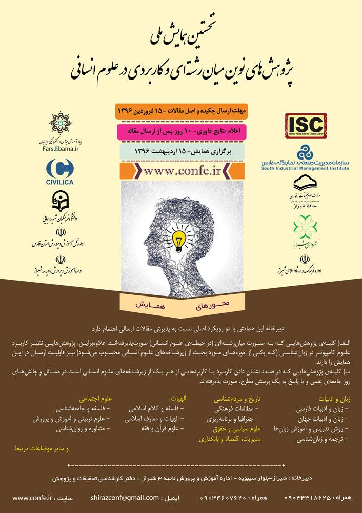 پوستر نخستین همایش ملی پژوهشهای نوین میانرشتهای و کاربردی در علوم انسانی